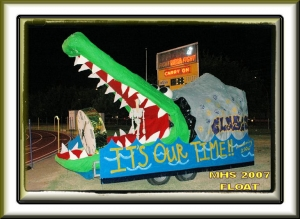 Who would have thought it!!  The Class of 63 boys sure left an alligator legacy  This is a float made for the MHS class