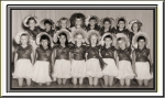 Judy Newman photo: 1954 DANCE CLASS  Bottom row: ?, Ramona Osif , ?, Deanne Merritt, ?, Louise Meadows, Martha Sirrine,